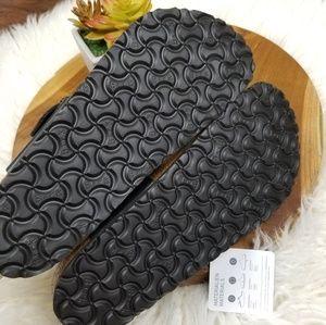Birkenstock Shoes - Birkenstock Gizeh Black Leather Birko Flor